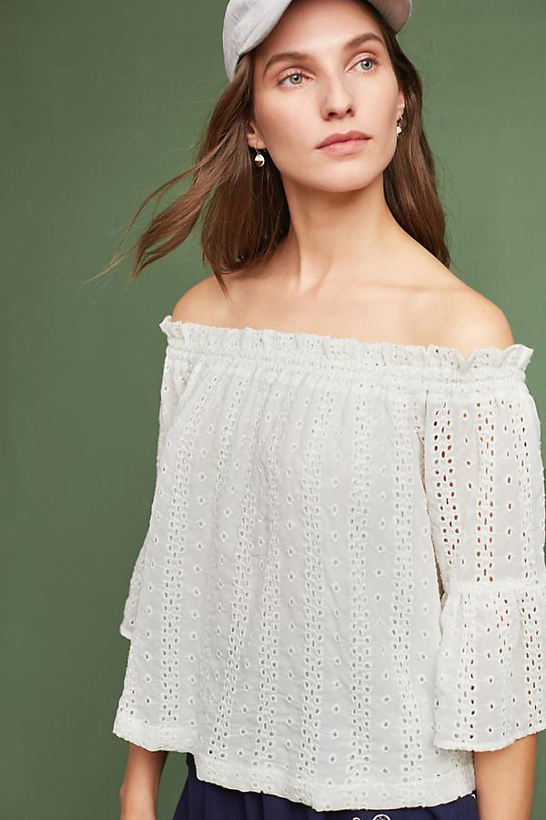 Angelique Eyelet Blouse - White, Size M