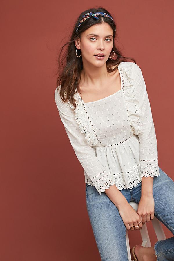 Edelyn Ruffled Blouse - White, Size Uk 14