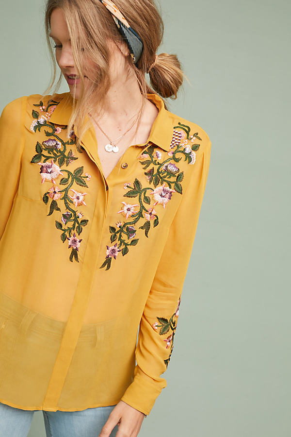 Marla Floral-Embroidered Shirt - Gold, Size Uk 10