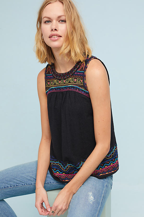 Mesa Embroidered Top - Black, Size Uk 8