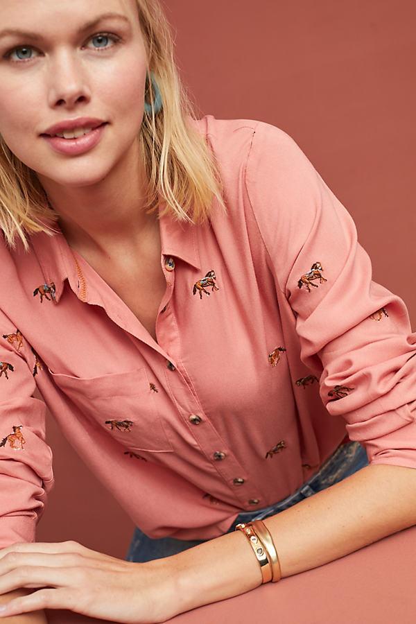 Clouet Embroidered-Poplin Shirt - Assorted, Size Uk 6