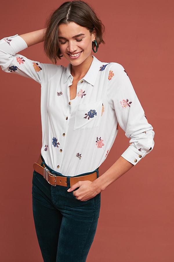 Clouet Embroidered-Poplin Shirt - Blue, Size Uk 12