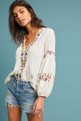Carthage Embroidered Peasant Top by Vanessa Virginia
