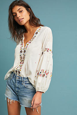Slide View: 1: Carthage Embroidered Peasant Top