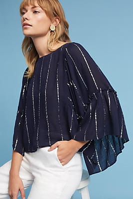 Slide View: 1: Striped Bell-Sleeve Blouse