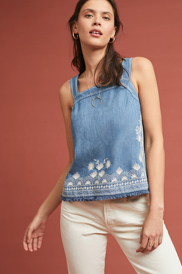 Embroidered Denim Halter Top - Blue, Size Uk 10