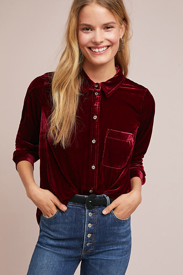 Velvet Shirt - Red, Size Uk 14