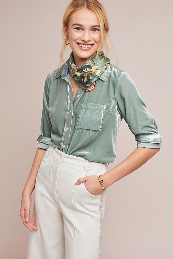 Velvet Shirt - Mint, Size Uk 12