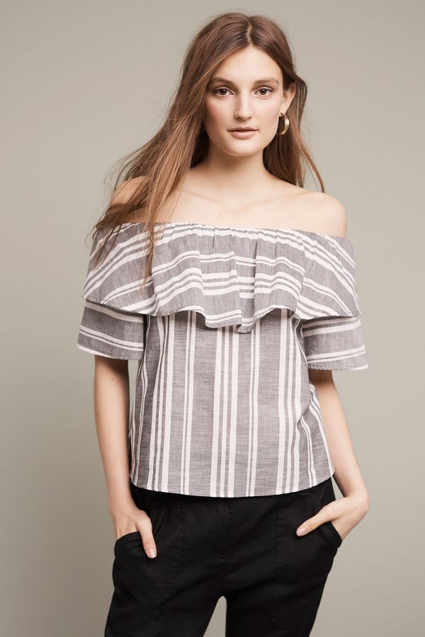Dee Elly Festive Stripe Off-The-Shoulder Top