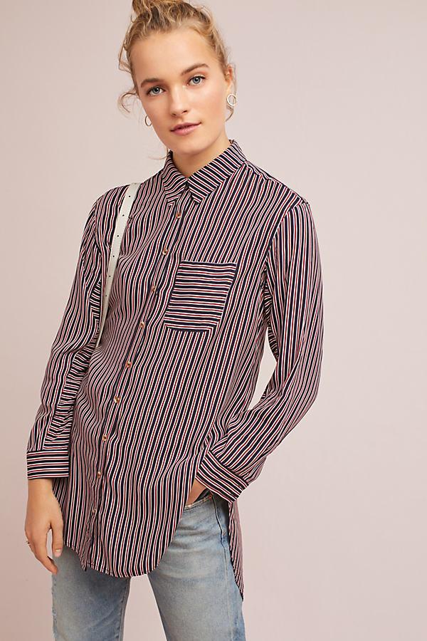 Adelaide Poplin Shirt - Red Motif, Size Xs