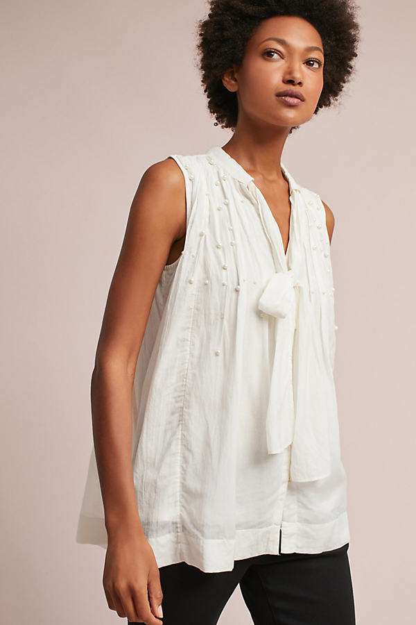 Leonie Pearled Tie-Neck Blouse, Ivory - Ivory, Size M