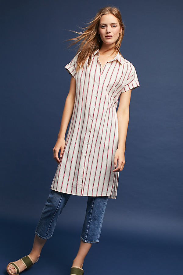 Arienna Striped Shirt - Neutral Motif, Size Xs