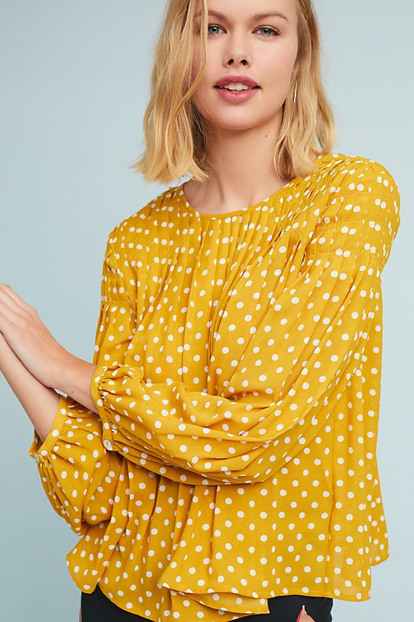 Geliefde Polka Dot Swing Blouse | Anthropologie @YF35