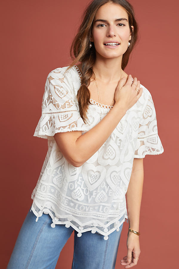 Lovely Top - White, Size Xl