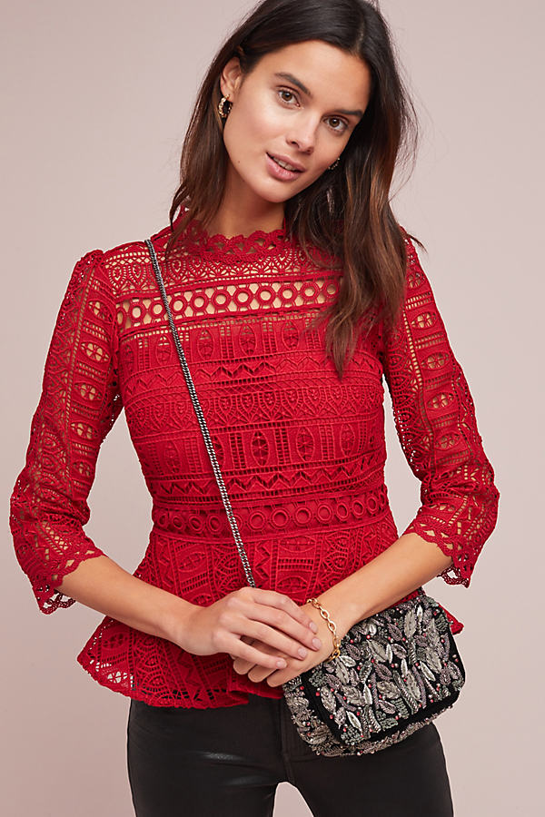 Tamera Geometric-Lace Blouse - Red, Size Uk 12