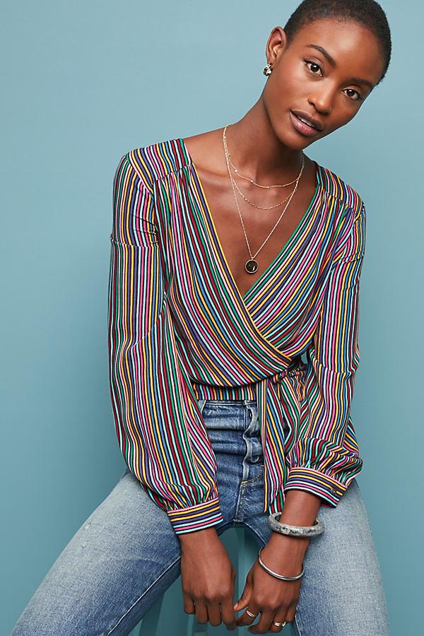 Susan Striped-Wrap Blouse - Novelty, Size Uk 14