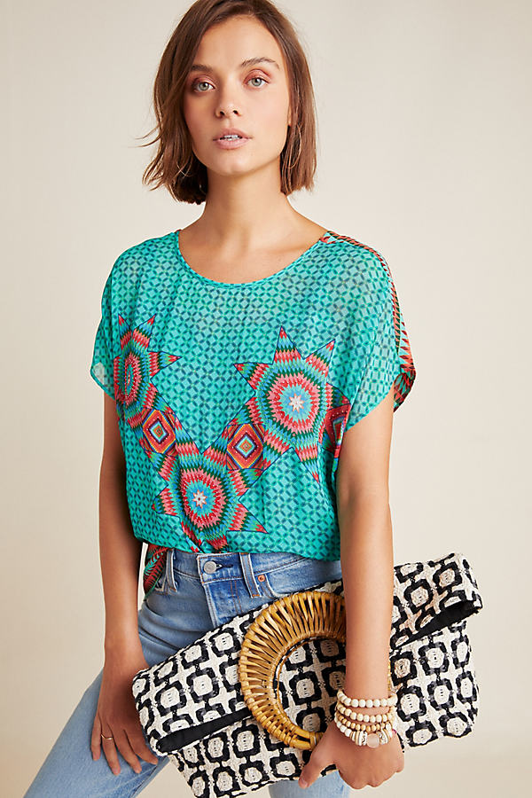 Deena Embroidered-Printed Tee - Blue, Size M