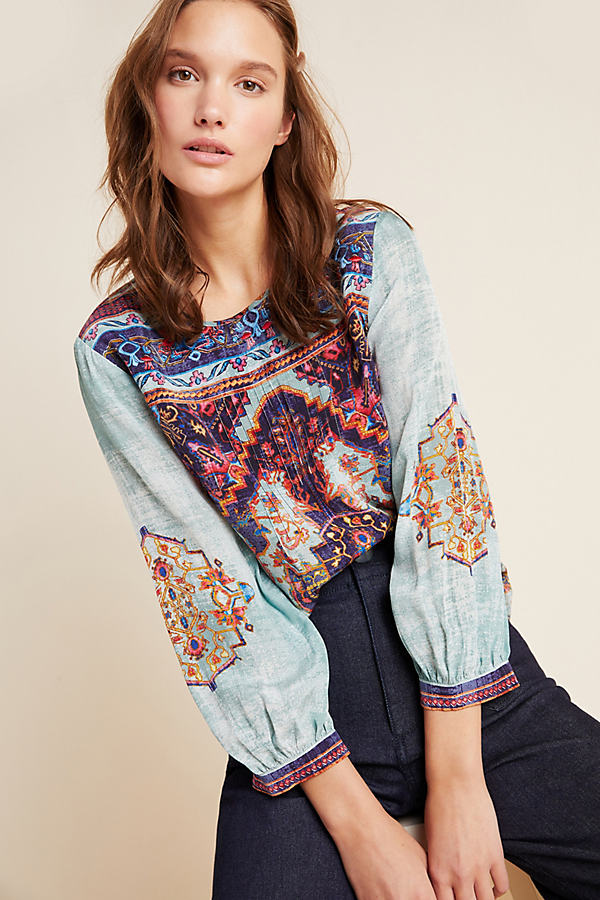 Prudence Beaded Blouse - Blue, Size Xl