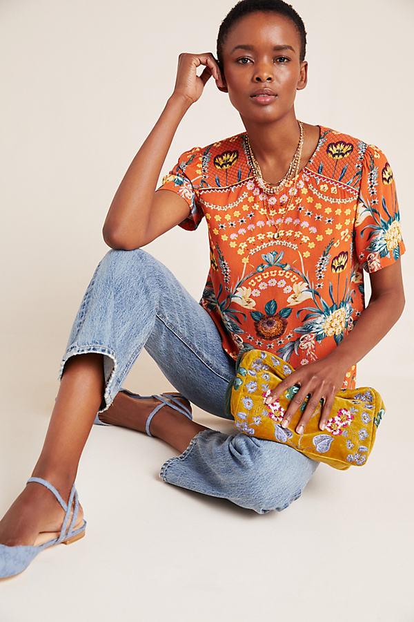 Samira Layered Blouse - Orange, Size L