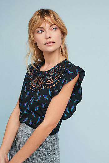 Fluttered Cutwork Blouse