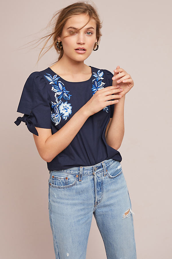 Molly Embroidered Top - Blue, Size S