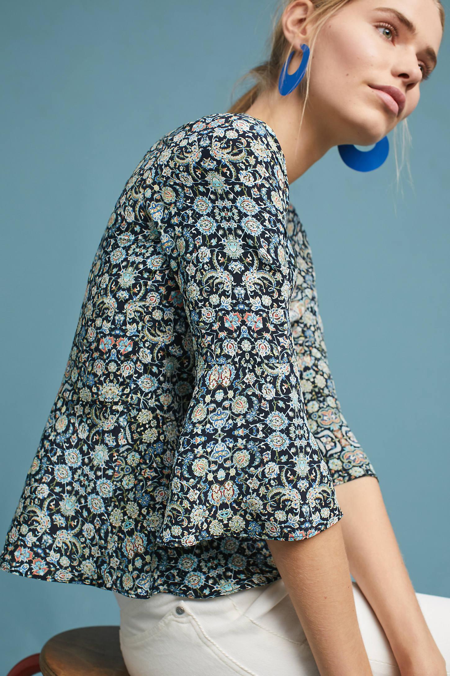 Silk Flared-Sleeve Buttondown