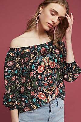 Slide View: 1: Floral Silk Off-The-Shoulder Top