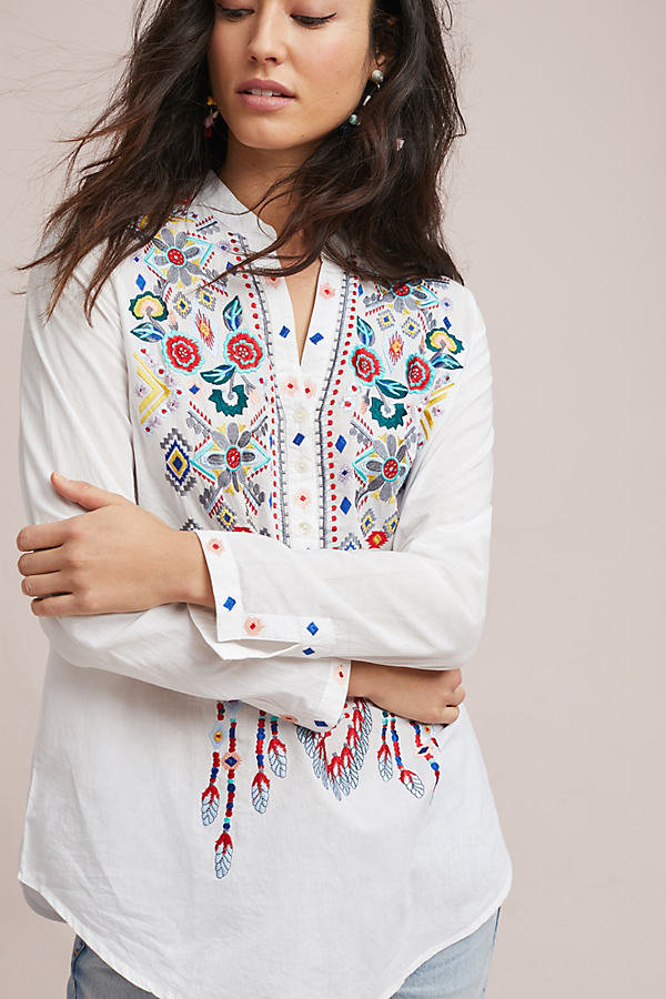 Josephina Embroidered Tunic - White, Size Xs