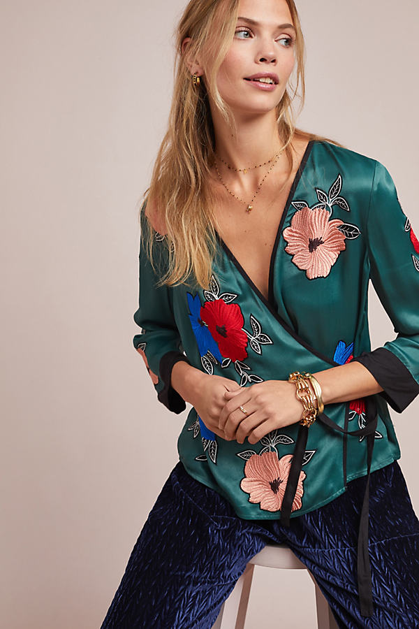 Retro Floral-Wrap Blouse - Green, Size Uk 6