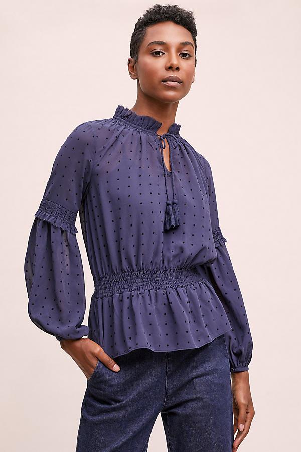 Gerina Textured-Peasant Blouse - Blue, Size Uk 16