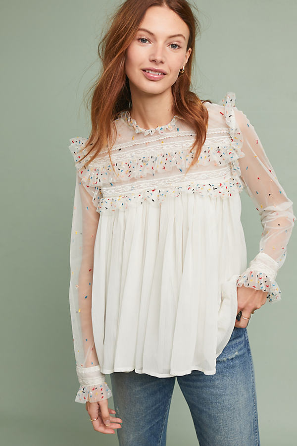 Ruffled-Embroidered Mesh-Trimmed Chiffon Blouse - White, Size Uk 16