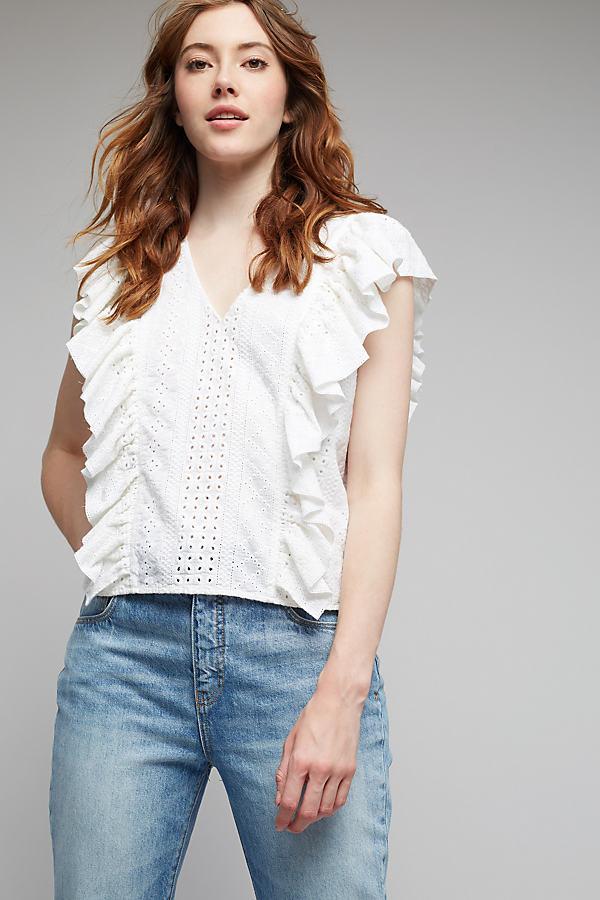 Myra Ruffled Top, White - White, Size 16