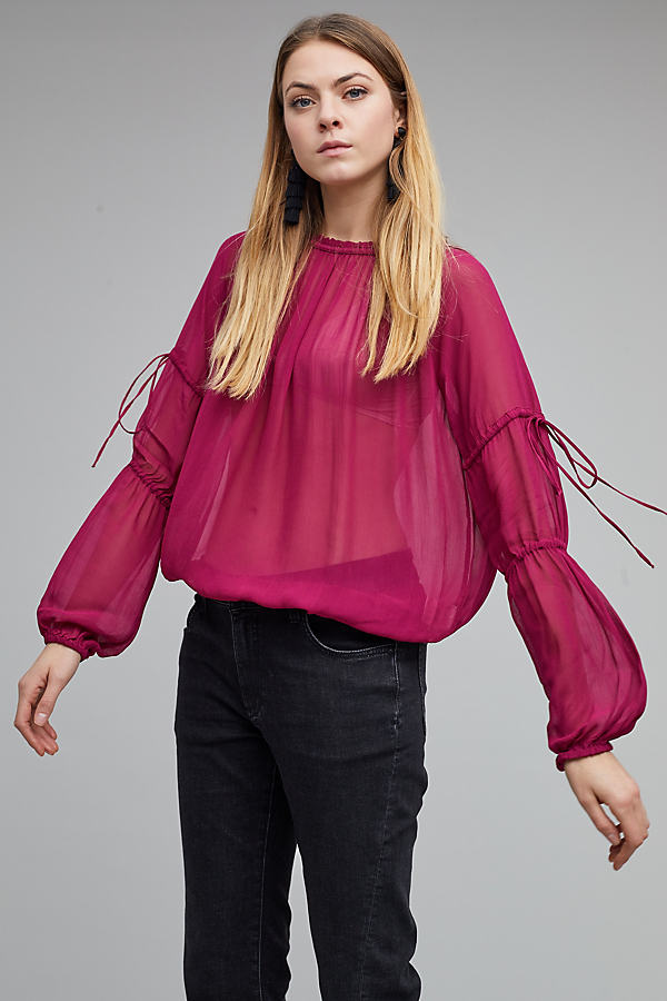 Bishi Sheer Ruched Blouse - Wine, Size Uk 10
