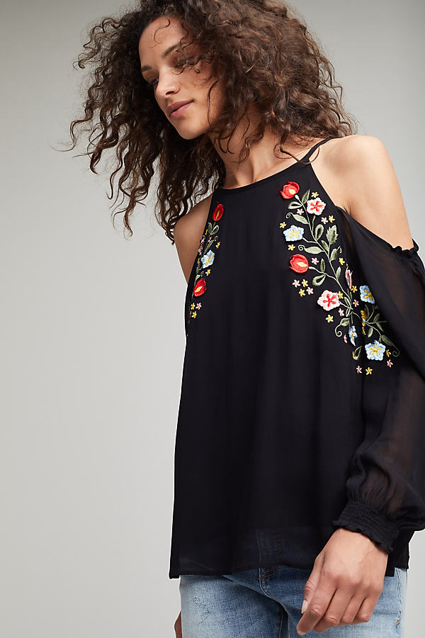 Carmella Embroidered Cold Shoulder Top - Black, Size 14