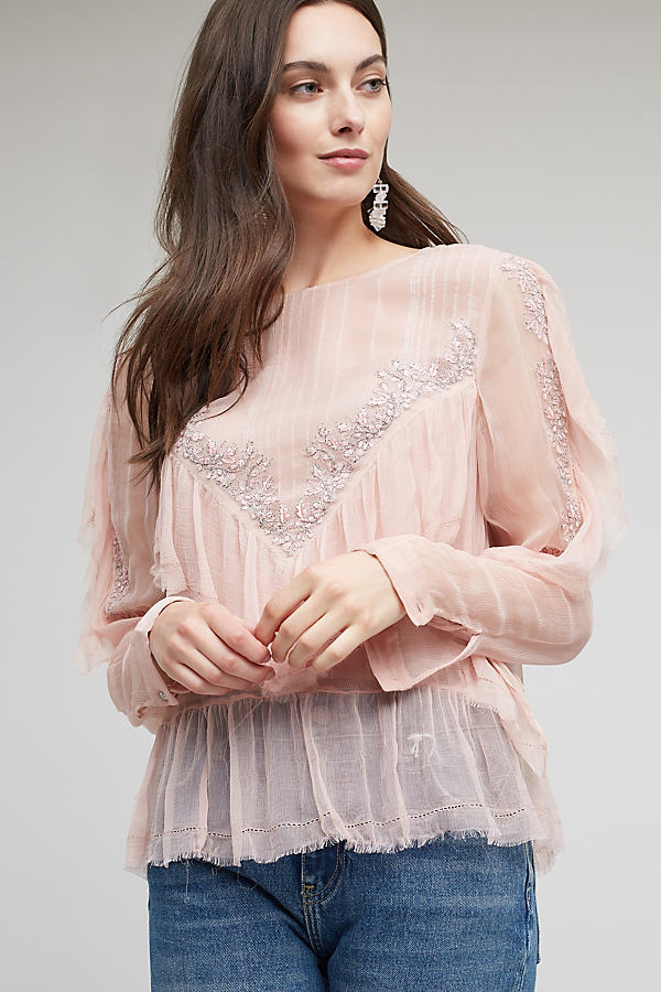 Leonie Ruffled Blouse, Pink - Pink, Size 16