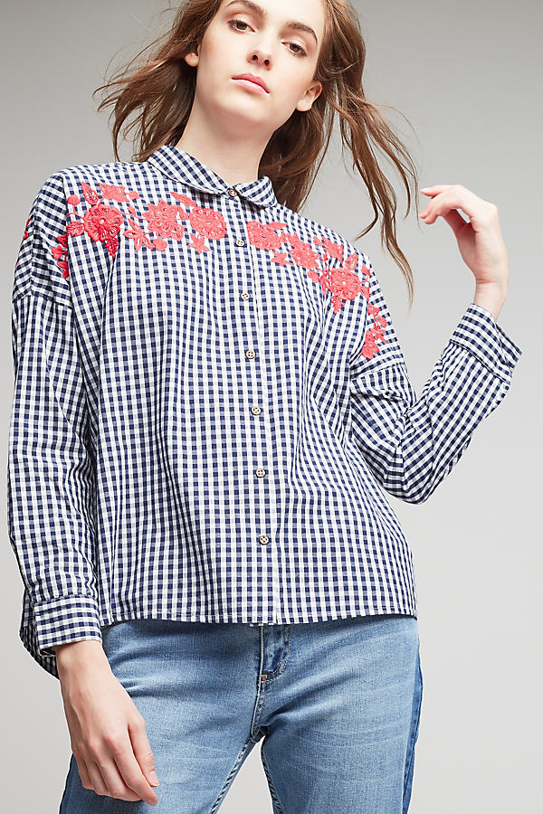 Denny Embroidered Gingham Blouse - Black & White, Size 16