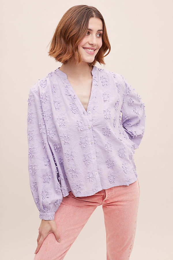 Anette Floral-Textured Shirt - Purple, Size Uk 6