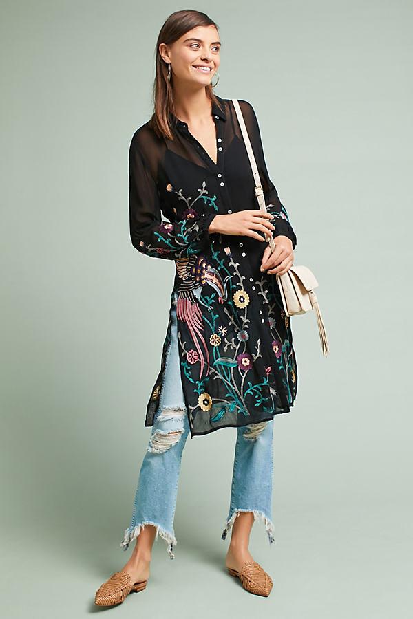 Dali Embroidered Shirt - Black, Size Uk 14