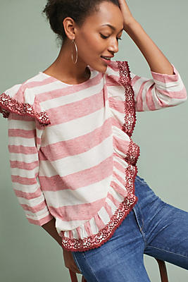 Slide View: 1: Corey Lynn Calter Ruffled Stripe Top