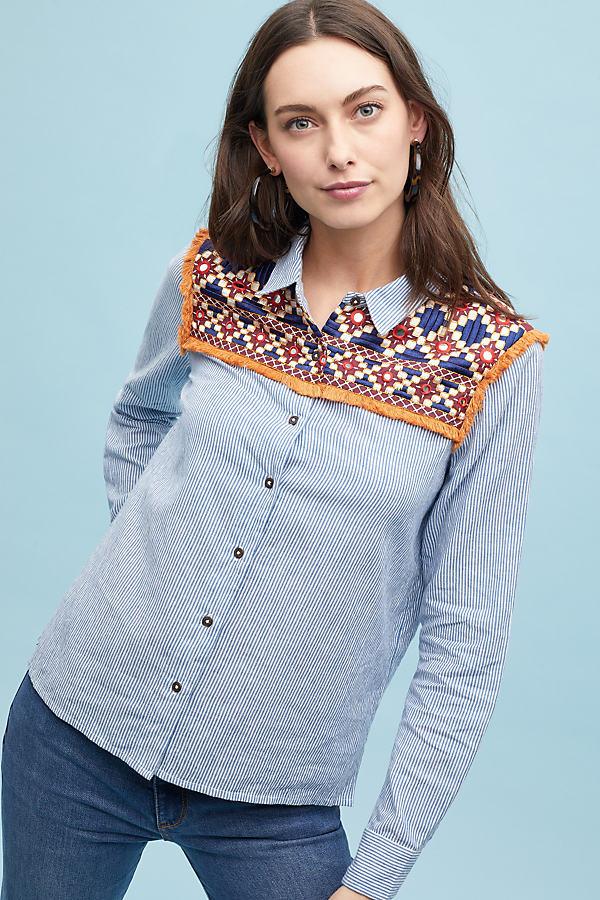 Pommed-Embroidered Striped Shirt - Blue, Size Uk 16
