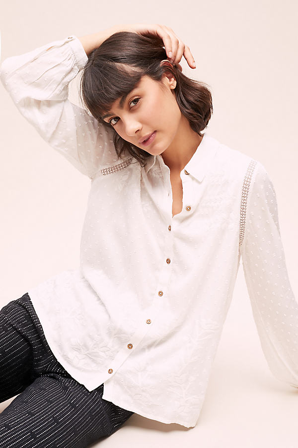 Dobby Embroidered Shirt - White, Size Uk 12
