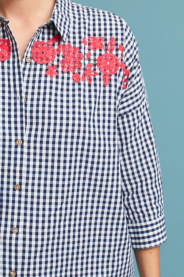 Slide View: 2: Embroidered Gingham Blouse