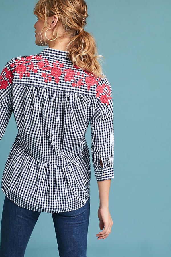 Slide View: 3: Embroidered Gingham Blouse