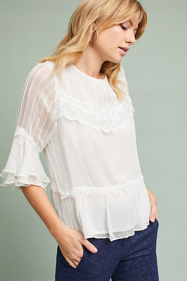 Desdemonda Lace Panel Blouse - Cream, Size Uk 8