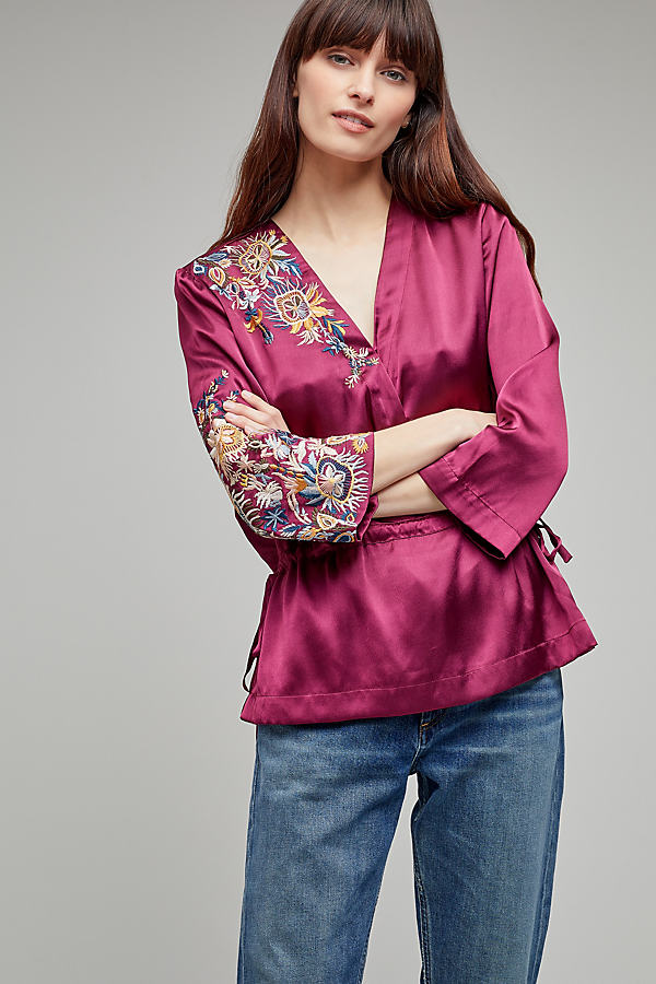 Elenora Embroidered Satin Wrap Blouse - Wine, Size Uk 14