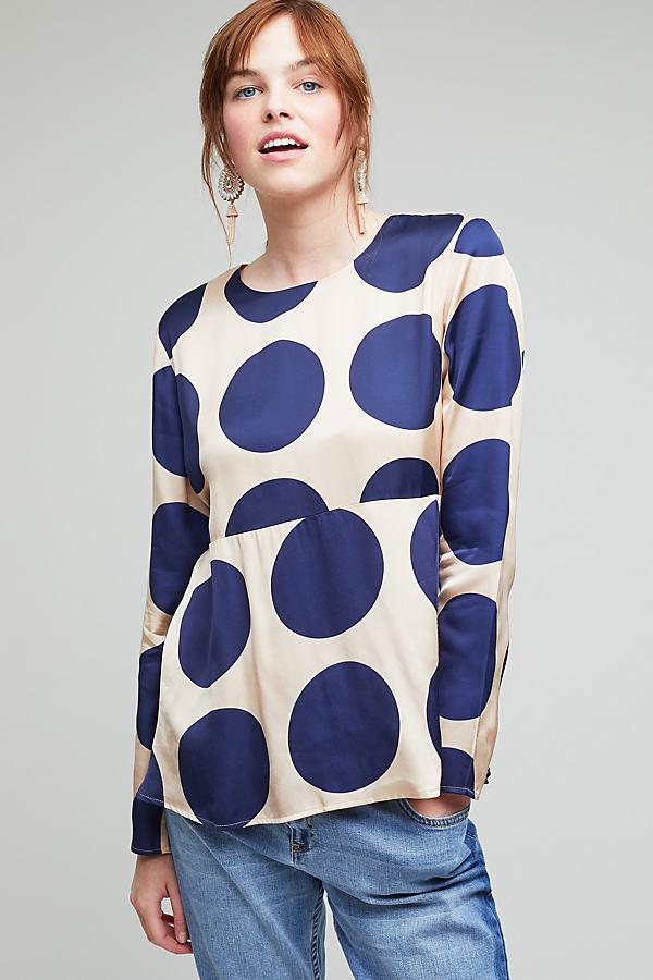Rema Spot Print Peplum Top - Blue, Size M