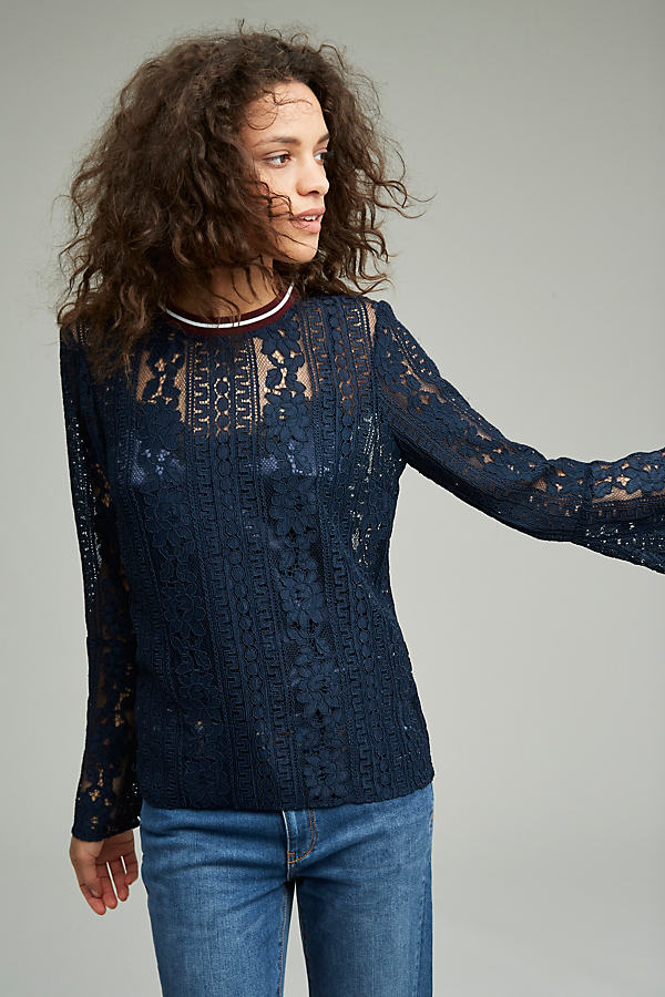 Prita Track Band Lace Blouse, Blue - Navy, Size S