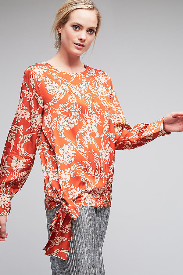 Aesa Floral Tie Waist Top - Orange Motif, Size Xl