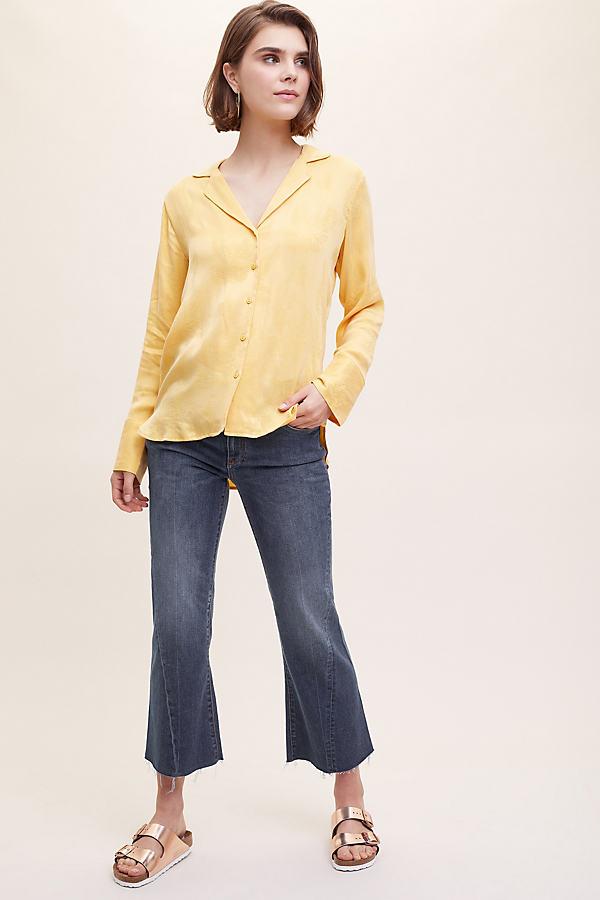 Tabby Floral-Jacquard Shirt - Gold, Size Xl