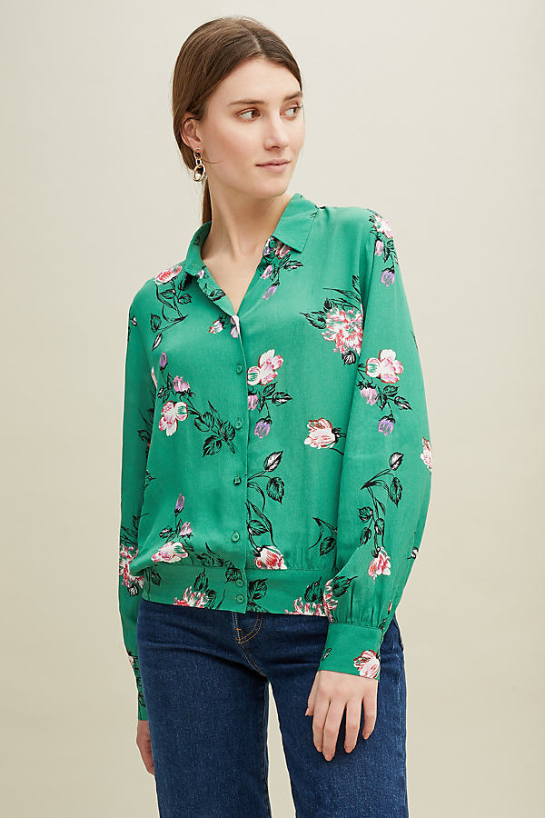 Second Female Ronja Floral Shirt - Green, Size Xl